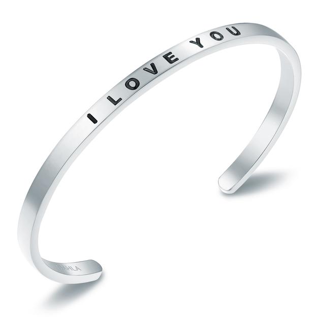 Bracelet en acier inoxydable I LOVE YOU - argent