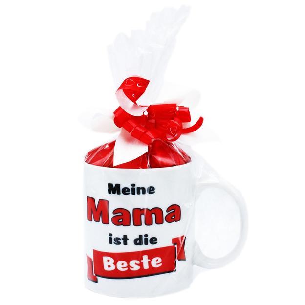 """""""Meine Mama ist die Beste"""" Tasse gefüllt mit roten Schokoherzli"""