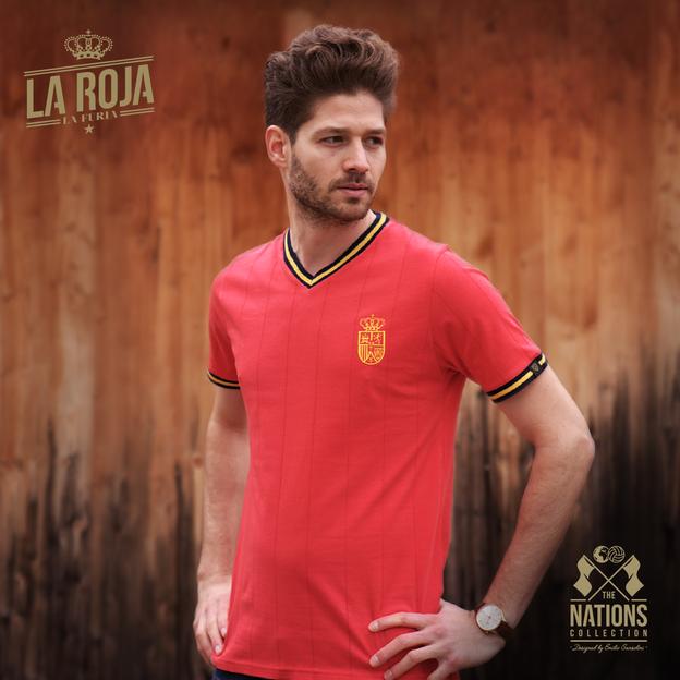 Vintage Fussball Trikot Herren Spanien L