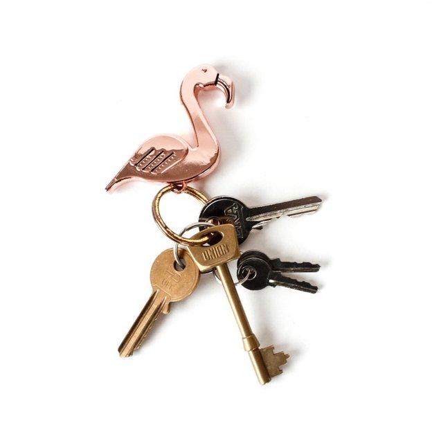 Porte-clés décapsuleur Flamant rose