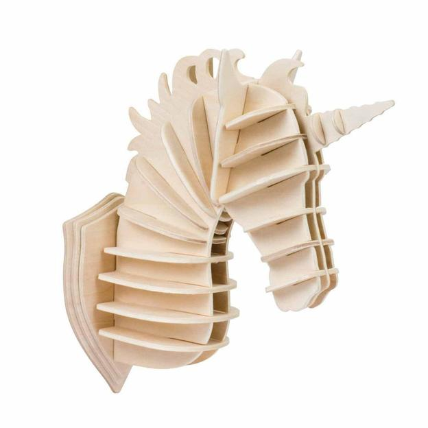 Einhorn Kopf - Holzbausatz mit 24 Teilen