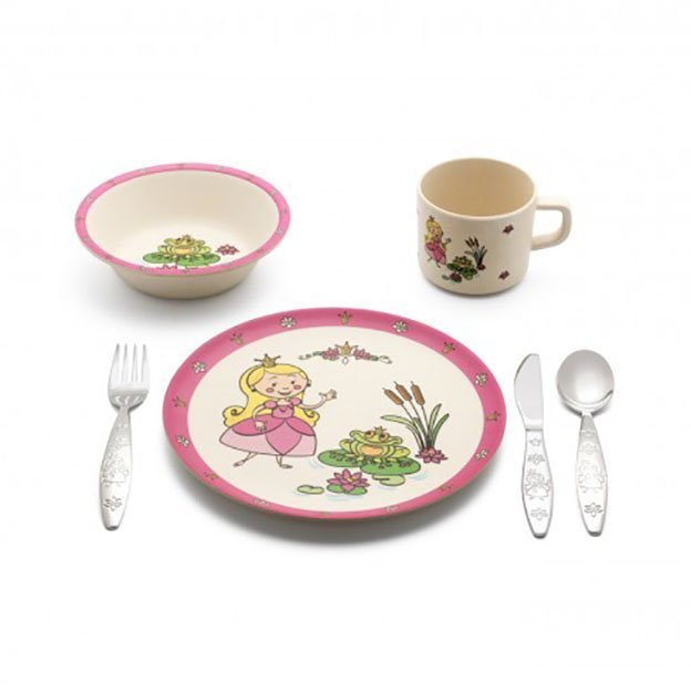 Vaisselle et couverts pour enfant Princesse, 6 pièces