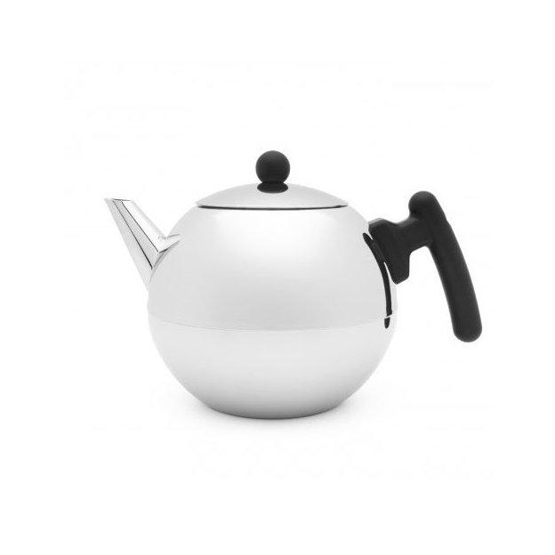 Teekanne Bella Ronde 1,2L, mit flachem Boden, schwarze Beschläge