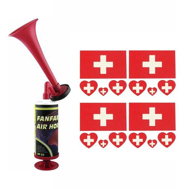 Schweizer Fan Set - Signalhorn inkl. 4 Körpertattoos