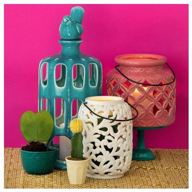 Rice Keramik Laterne Weiss