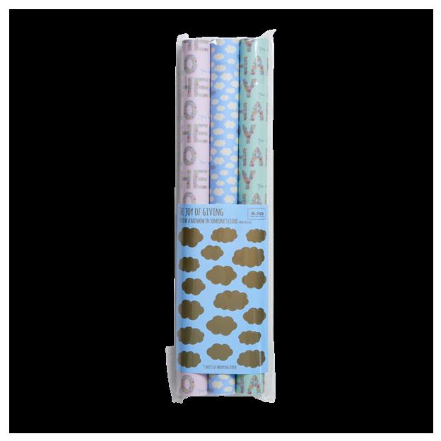 Rice Geschenkpapier & Sticker 4er Set
