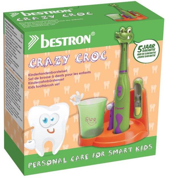 Elektrisches Crazy Crocodile-Zahnbürstenset mit Sanduhr und Zahnbecher