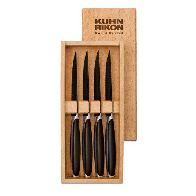 Black Peak Steakmesser 4er-Set in Holz-Geschenkbox von Kuhn Rikon