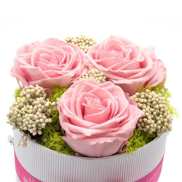 Rosenbox mit 3 Rosen Rosa