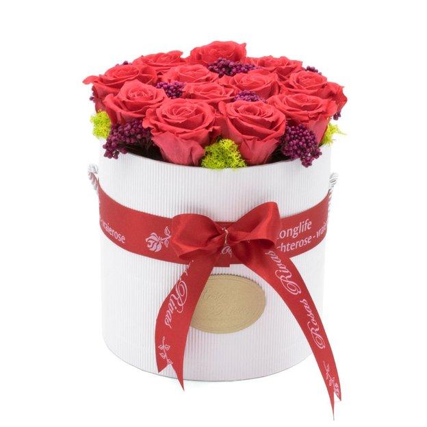 Rosenbox mit 11 Rosen Rot