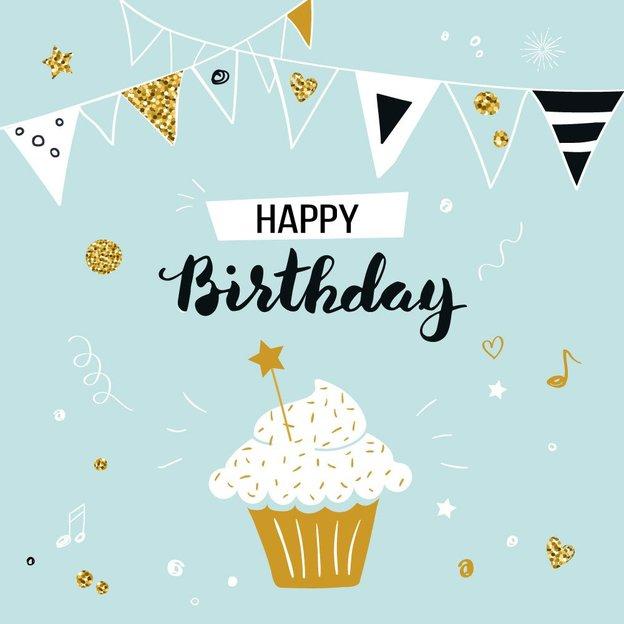 Carte de vœux Happy Birthday Cupcake
