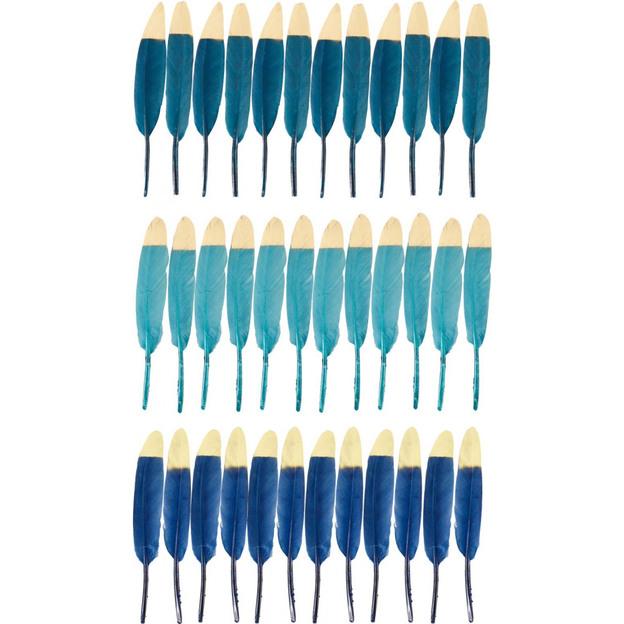 Plumes ornementales bleues, 36 pièces