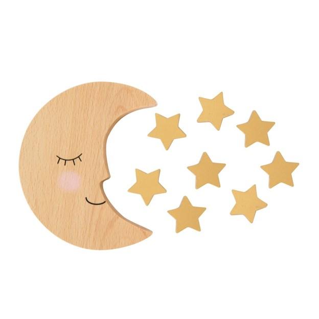 Jeu d'équilibre en bois Lune et étoiles