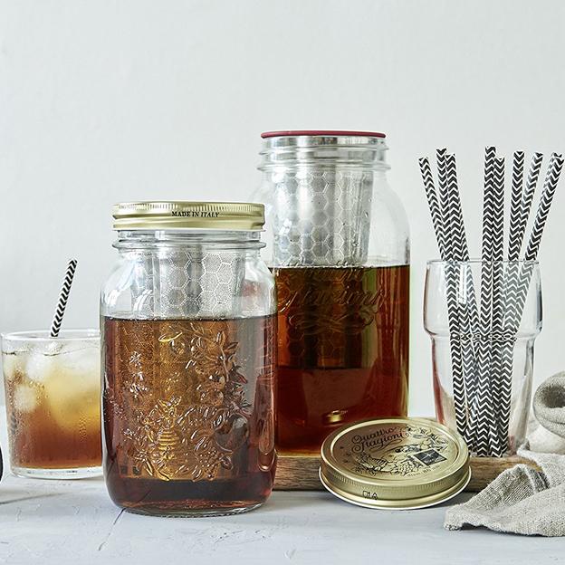 BREWJAR, Jar mit Filtereinsatz für Cold-Brew-Coffee und Tee 1l