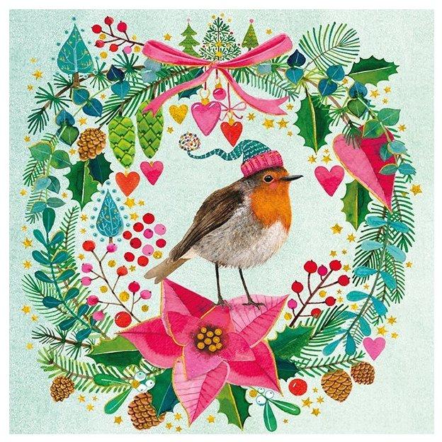 Carte de Noël Rouge gorge