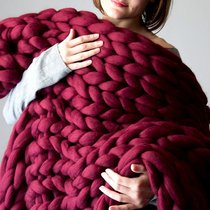 Couverture Chunky Knit bordeaux