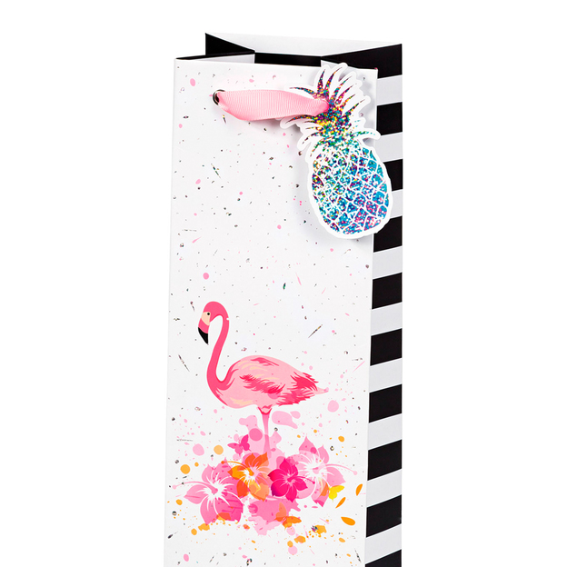 Sac cadeau pour bouteille Flamant rose