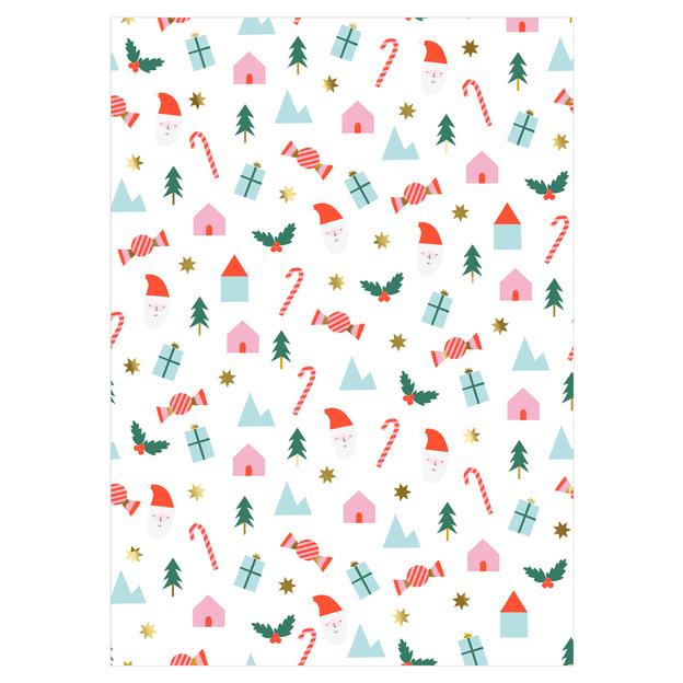 Rouleau de papier cadeau aux symboles de Noël