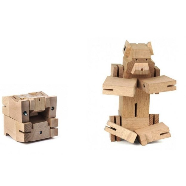 Cube Ours en bois
