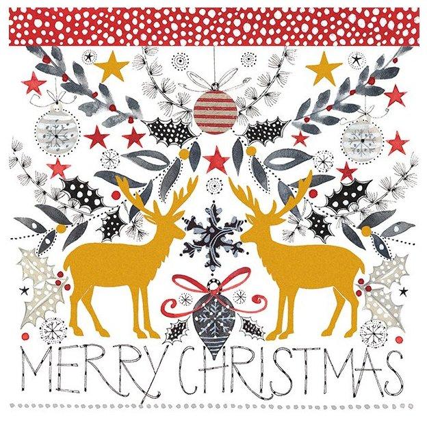 Carte de vœux Cerf Merry Christmas