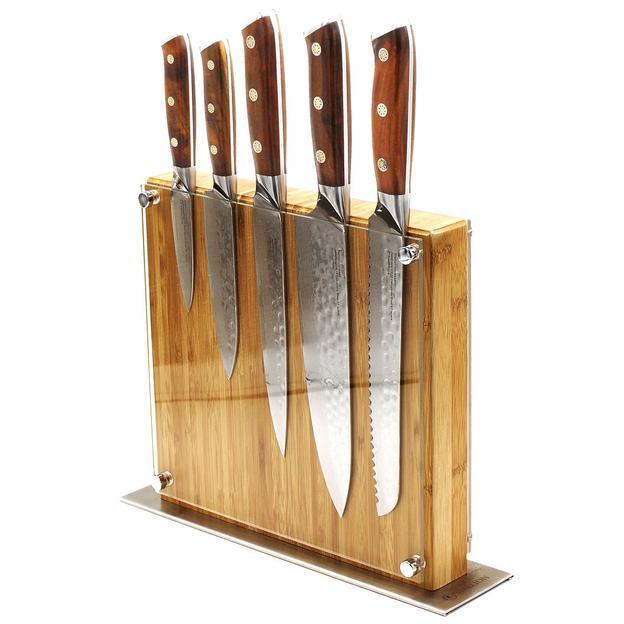 Profi Messerset aus Damaststahl mit Massiv-Holzblock, australische Eisenholzgriffe