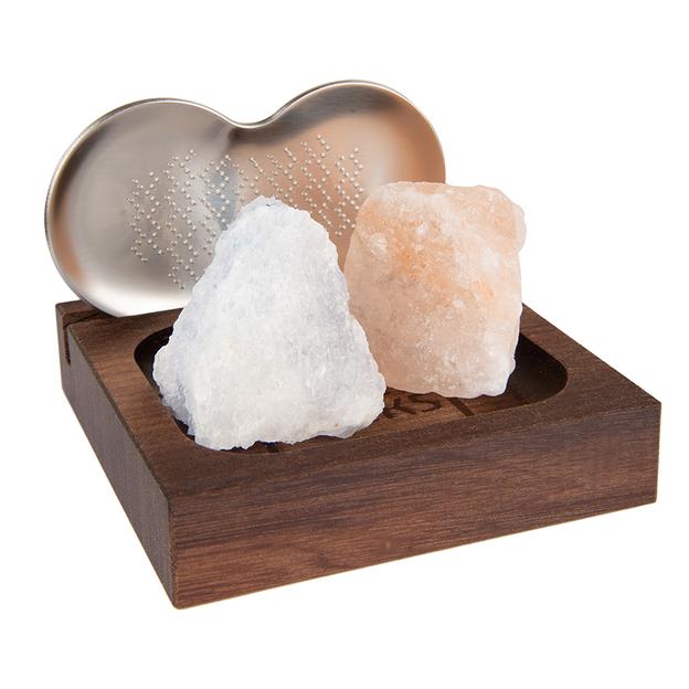 Blocs de sel Himalaya, coffret de luxe 2 pièces avec râpe