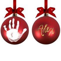 Boule de Noël avec nom et empreinte