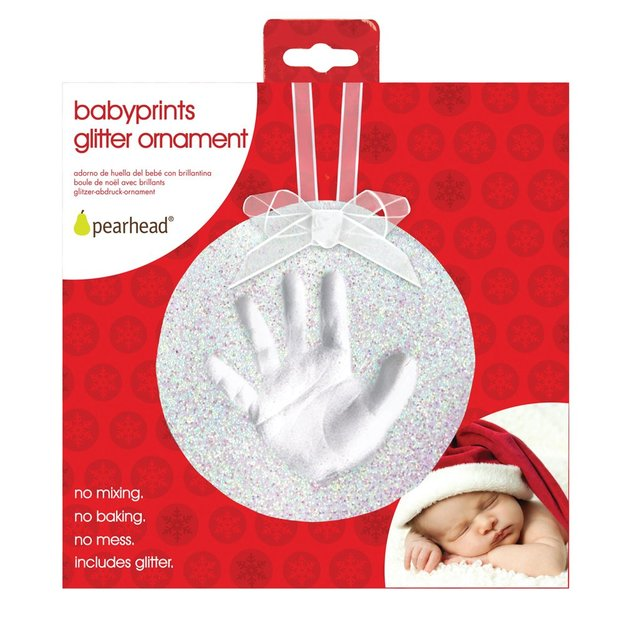 Baby Gipsabdruck Glitzerornament