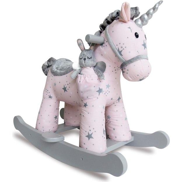 Cheval à bascule pour bébé, licorne rose