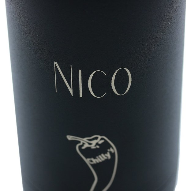 Personalisierbare Chilly's Bottles Monochrome Black, Trinkflasche 500ml