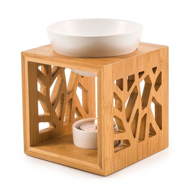 Lanterne à parfum Pattern en bois – blanc