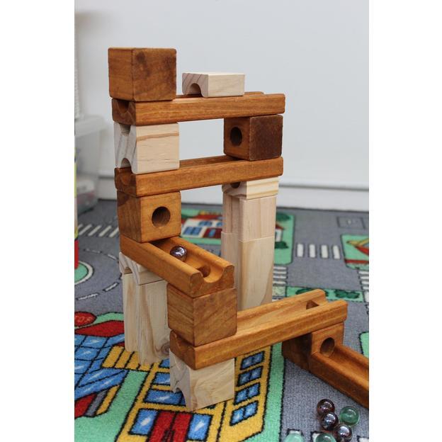 Circuit à billes en bois, 60 pièces
