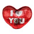 Coussin Cœur I LOVE YOU avec paillettes réversibles