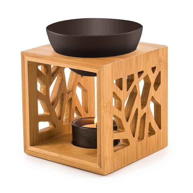 Duftlampe Pattern Holz schwarz