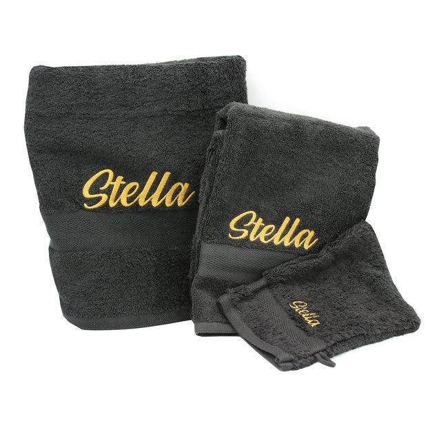 Personalisierbares Handtuch Set 3-tlg schwarz