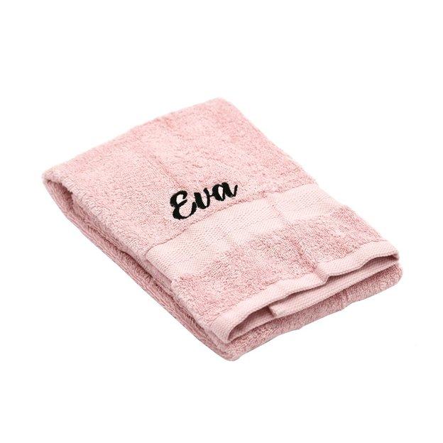 Linges et gant de toilette personnalisés roses, set de 3