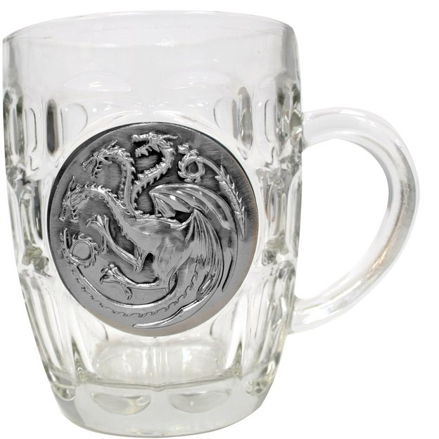 Game of Thrones Bierglas Targaryen Metallic Logo, 0.5l