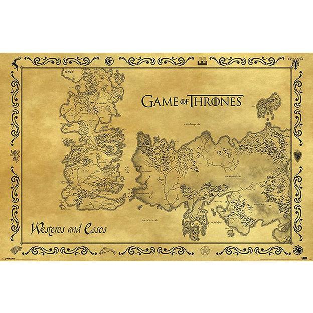 Poster Game of Thrones Carte Westeros & Essos, style antique