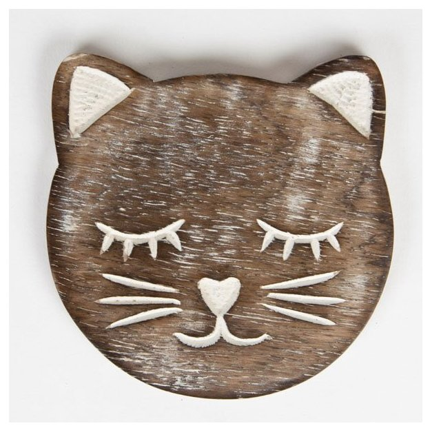 Untersetzer Katze Holz 6-tlg
