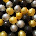 Ballone in Schwarz Gold Silber, Set aus 30 Stück