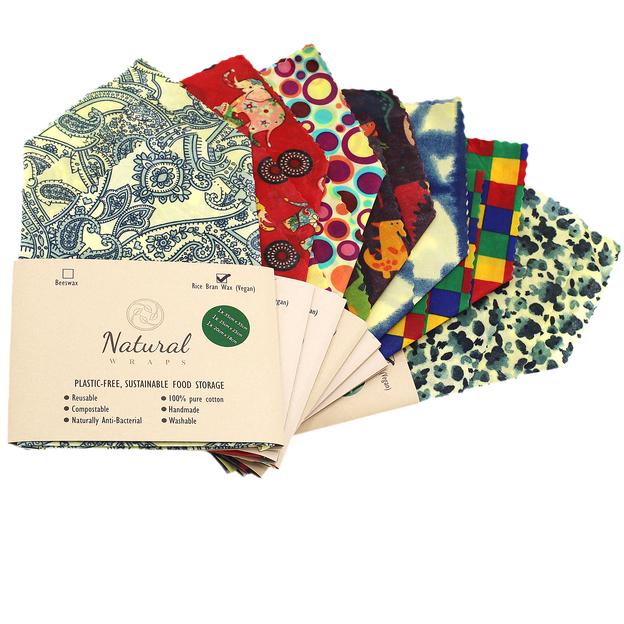 Natural Wraps gewachste Einpacktücher 100% abbaubar und vegan, 3er Set