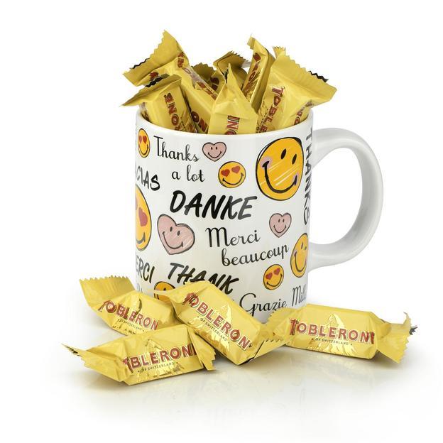 "Geschenkset ""Tasse Smiley - Danke"" Toblerone"
