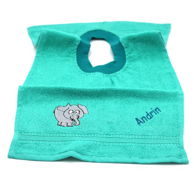 Bavette bébé personnalisée éléphant émeraude