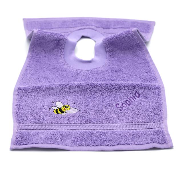 Bavette bébé personnalisée abeille lilas