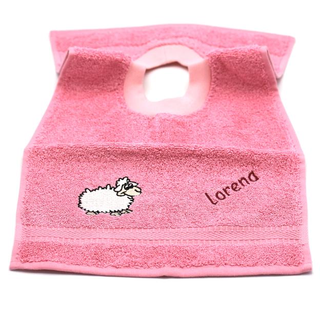 Bavette bébé personnalisée mouton rose