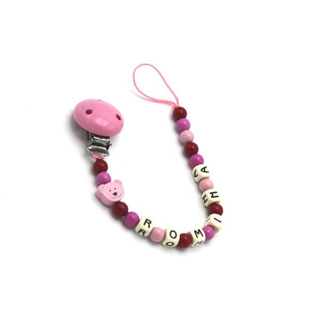 Personalisierbare Nuggikette Bär rosa