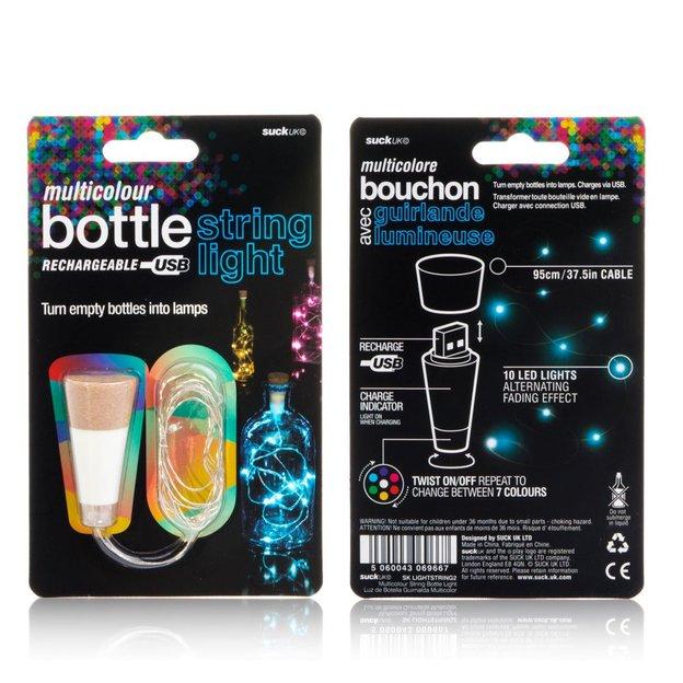 Guirlande lumineuse multicolore pour bouteille