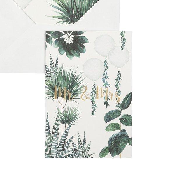 Carte de vœux palmiers Mr & Mrs