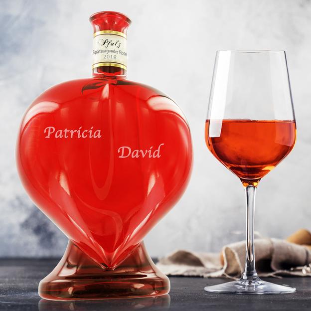 Personalisierbare Weinflasche in Herzform