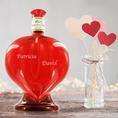Bouteille de vin personnalisée en forme de cœur